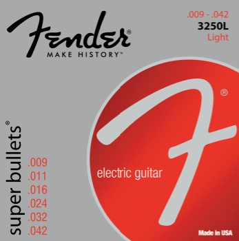 3250L  Fender Super Bullets Electric Guitar Strings -- Light